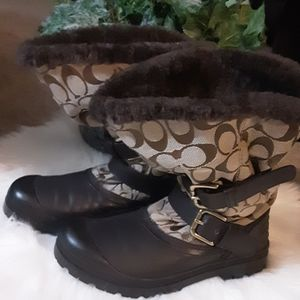EXC COACH FUR LINED SNOW BOOTS SIZE 7 WARM CUTE!!!